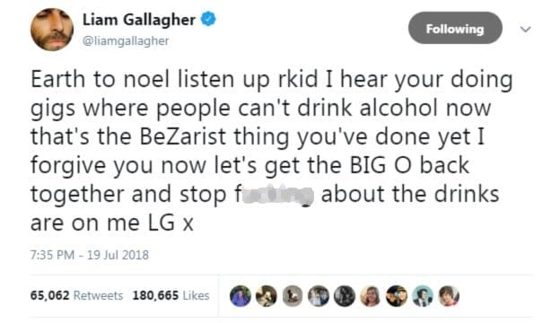 Liam Gallagher tweet