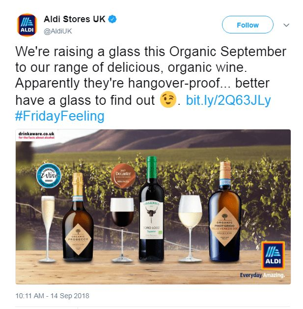 Aldi Organic September Tweet