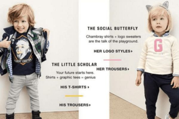 Gap were criticised for this advert, depicting a boy as a 'Little Scholar' and a girl as a 'Social Butterfly' (Image: Gap)