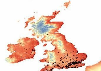Dark spots show where the spiders are already found. Red and pink indicates areas where the spiders are likely to set up home (Image: Contributed)
