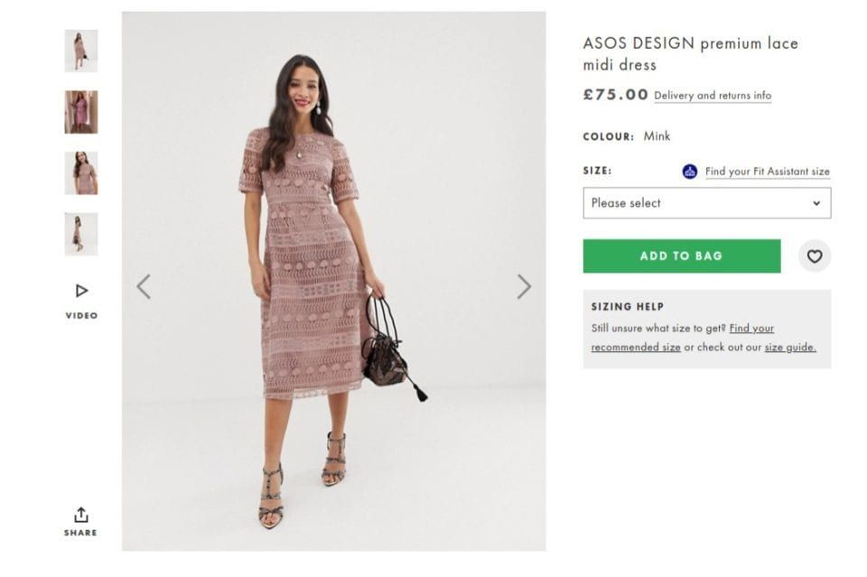 The advert for the dress on the ASOS website (Photo: ASOS)