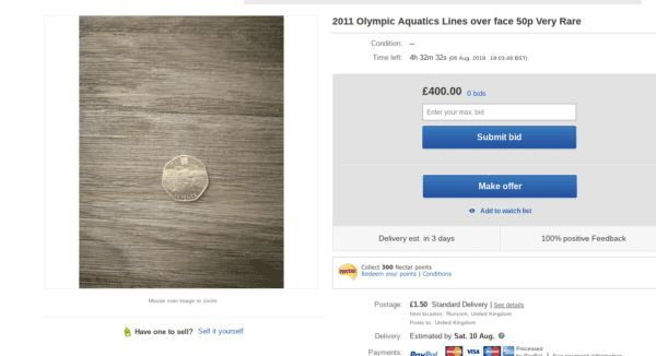 Rare Olympic swimming 50p error coin sells for almost £600 on eBay
